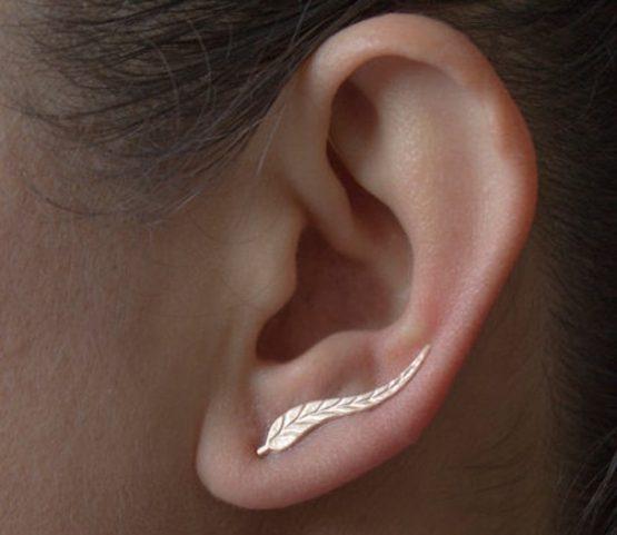 Gold Colour Leaf Stud Earrings